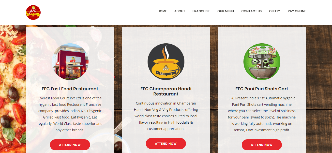 Food Franchise Company Website