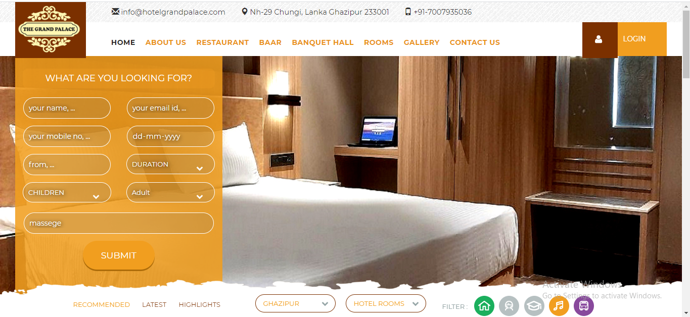 Hotel website designing company in varanasi india